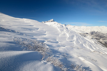 Winter panorama of high mountain range