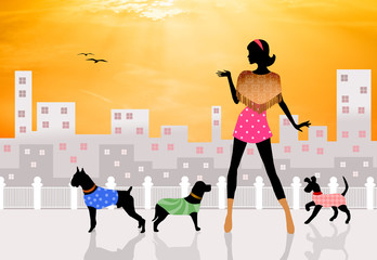 illustration of dog sitter
