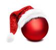 Weihnachtskugel mit Nikolausmütze