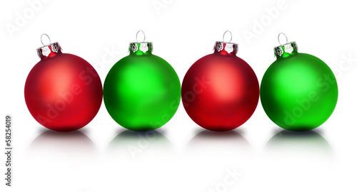 Rote und Grüne Weihnachtskugeln