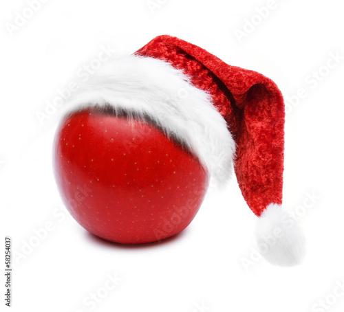 Apfel mit Nikolausmütze