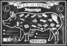 Weinlese-Tafel Cut von Schweinefleisch