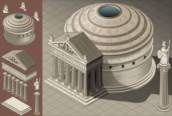 Isometric Pantheon Temple in Roman Architecture