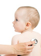 Pediatric doctor examining kid girl with stethoscope isolated on