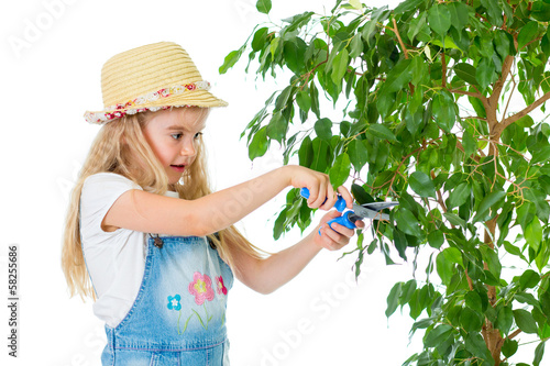 gardener kid caring at tree