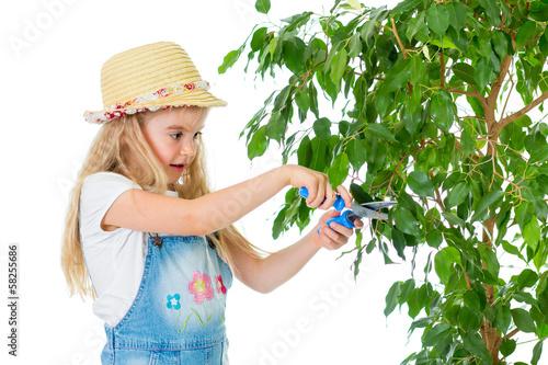 gardener kid caring at tree