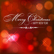 Christmas red background with Merry Christmas and Happy New Year