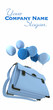 Blue balloons carrying a schoolbag