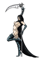 Striptease girl Grim Reaper