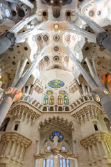 Sagrada Familia ceiling architecture detail.Barcelona Spain