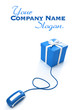 Online gift shopping in blue