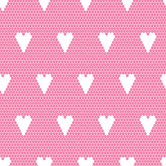 White lace vector fabric seamless  pattern with hearts