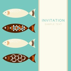 Vintage set of fish, invitation card, vector illustration