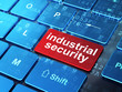 Safety concept: Industrial Security on keyboard background