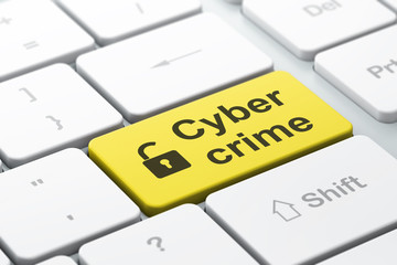 Protection concept: Opened Padlock and Cyber Crime on keyboard