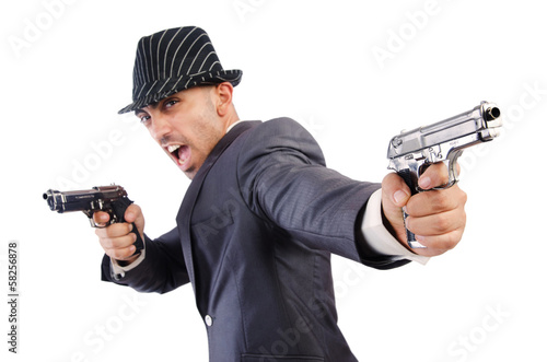 Gangster with guns isolated on white