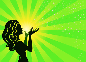Magical Fairy Girl Blows Stardust