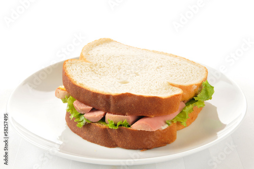 Vienna sausage sandwich on white