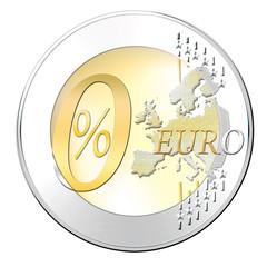 Euromünze mit null Prozent , frfeigestellt, isoliert
