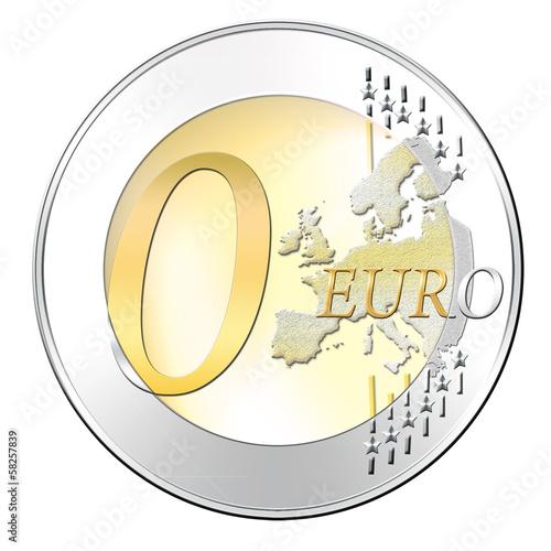 Null Euromünze - Symbol , freigestellt