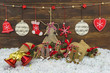 Rustic shabby chic Christmas decorations on snow