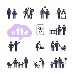 People Family Pictogram. Web icon set.