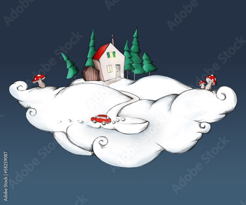 Weihnachtshaus auf Wolke mit Pilzen