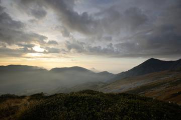 Alpine sunrise from the summit