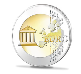 Euromünze mit Banksymbol