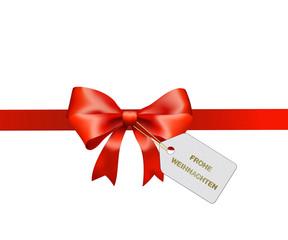 Rote Schleife Frohe Weihnachten gold