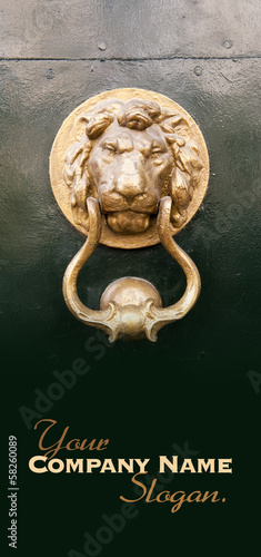 Golden lion door knocker slogan