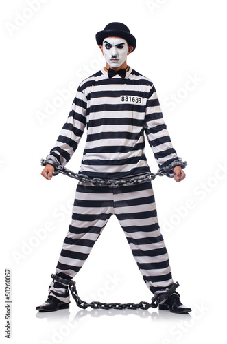 Poster Funny man with facemask mask with shackles on white