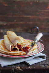Thin crepe stack with strawberry jam