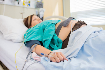 Pregnant Woman With IV and Epidural