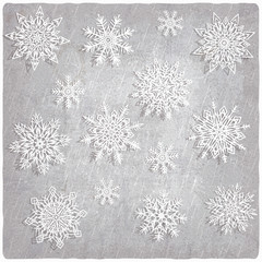 Vintage background with snowflake set - vector illustration