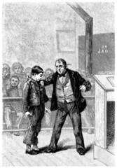 Teacher Punishing a Schoolboy - 19th century