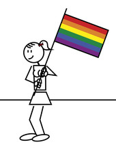 Stick figure girl gay flag