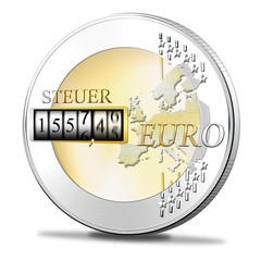 Euromünze mit Steuer