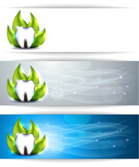 Dental banners, various colors, tooth and leaf.
