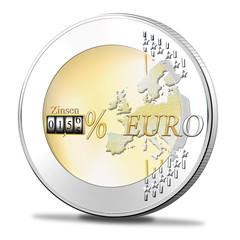 Euro Münze mit Zinsen