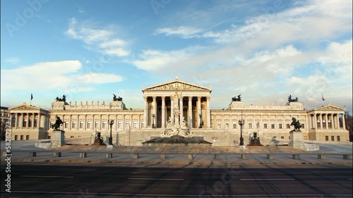 Vienna Parliament at day - time lapse