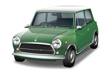 Englisch, britisches Kultauto in grün - schwarz