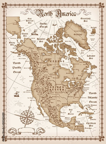 Poszter Vintage map of North America