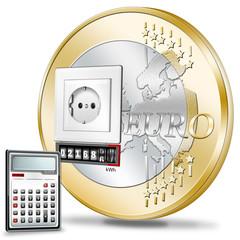 Euromünze mit Steckdose, Stromzähler und Taschenrechner