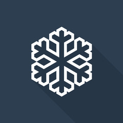 Snowflake icon with long shadow on midnight blue background