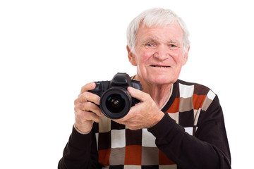 elderly photographer with camera