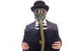 Businessman wearing gas mask isolated on white