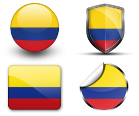 Colombia flag button sticker and badge