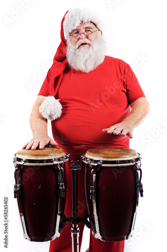 Santa Claus play drums