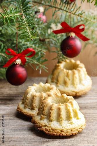 Festive breads under christmas tree.